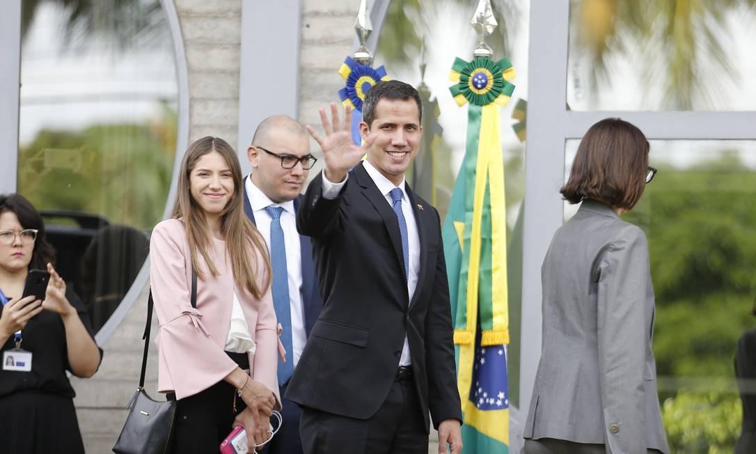 O líder da oposição venezuelana, Juan Gauidó, chega a Brasília para encontros que visam fortalecer sua posição e a derrubada de Maduro Foto: Jorge William / AOG
