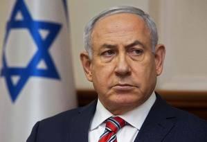 O primeiro-ministro de Benjamin Netanyahu em reunião de gabinete em junho do ano passado: acusações são relativas a três casos Foto: SEBASTIAN SCHEINER / AFP/SEBASTIAN SCHEINER/03-06-2018