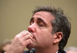 Michael Cohen, ex-advogado de Donald Trump, durante testemunho ao Congresso americano Foto: ANDREW CABALLERO-REYNOLDS / AFP
