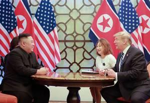 KCNA divulga foto de reunião entre Kim Jong-un e Donald Trump no Vietnã Foto: KCNA VIA KNS 01-03-2019 / AFP