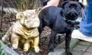 A cadela Edda, da raça pug, faz 'pose' ao lado de uma estátua em sua homenagem Foto: NYT