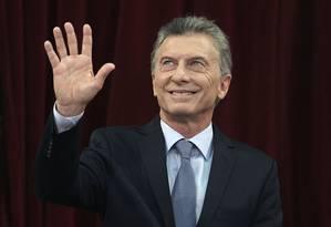 Presidente da Argentina, Mauricio Macri, acena diramte seu discurso anual ao Congresso em 2019 Foto: JUAN MABROMATA / AFP