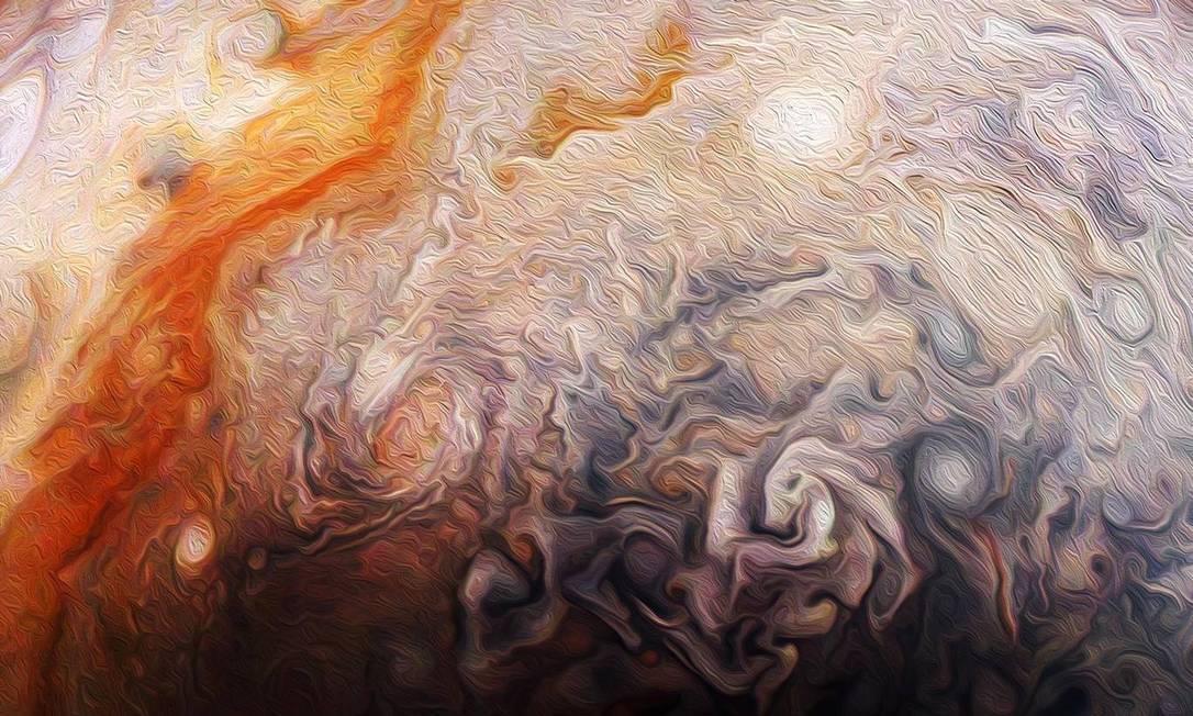 Tempestades no hemisfério norte de Júpiter Foto: NASA / JPL-Caltech / SwRI / MSSS / Rick Lundh / NASA