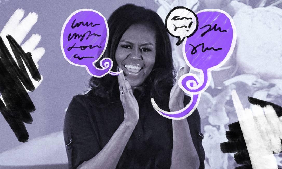 Michelle Obama visita escola em Londres, em turnê para o lançamento de seu livro de memórias Foto: Arte de Lari Arantes sobre foto de Ben Stansall/AFP