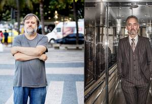 Zizek (esquerda) e Peterson: antagonismo em fileiras distintas das guerras culturais Foto: Leo Aversa (Zizek)/Lars Pehrson (Peterson) / Agência O GLOBO/SvD