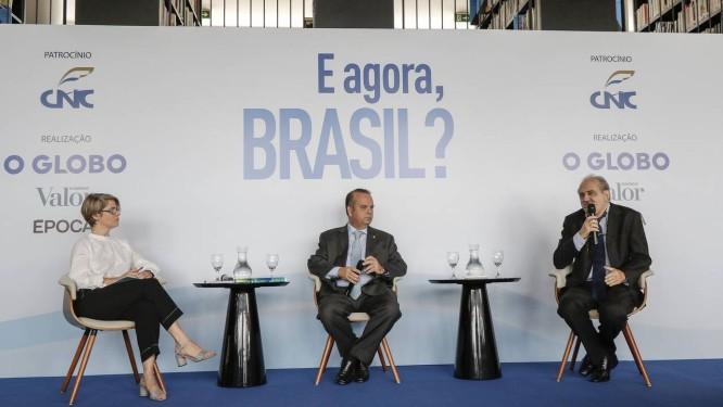 Maria Fernanda Delmas, Rogério Marinho e Ancelmo Gois Foto: Eduardo Uzal