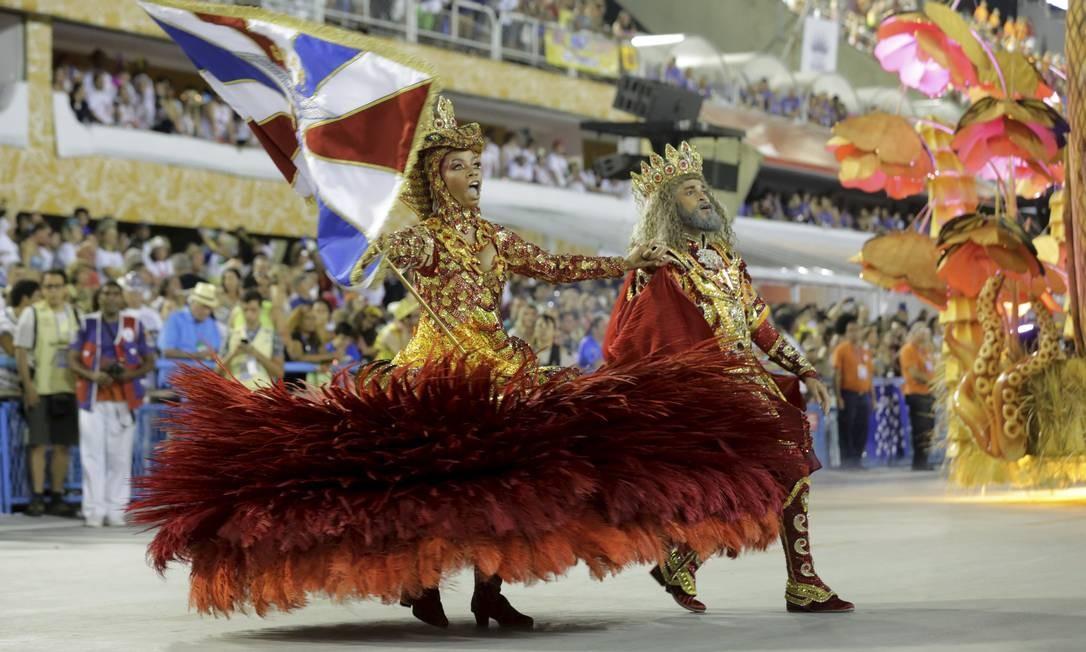 Visual de Dandara e Phelipe Lemos inspirado na lenda da Princesa de Jericoacoara roubou a cena na Sapucaí Foto: MARCELO THEOBALD / Agência O Globo
