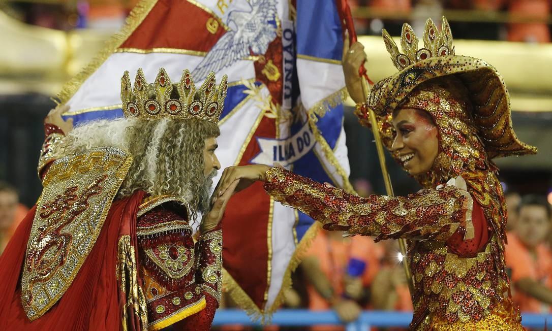 Visual de Dandara e Phelipe Lemos inspirado na lenda da Princesa de Jericoacoara roubou a cena na Sapucaí Foto: Pablo Jacob / Agência O Globo