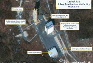 Imagem de satélite da base de lançamento de satélites Sohae, na Coreia do Norte Foto: HANDOUT / REUTERS