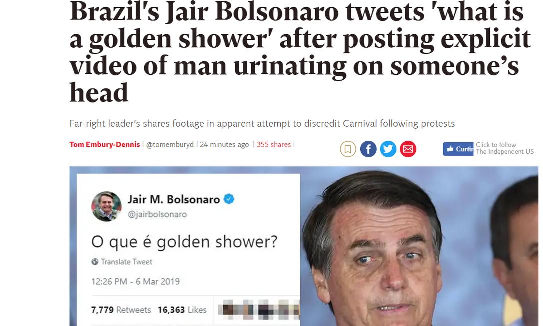Mídia internacional repercutiu post polêmico de Bolsonaro Foto: Reprodução/The Independent