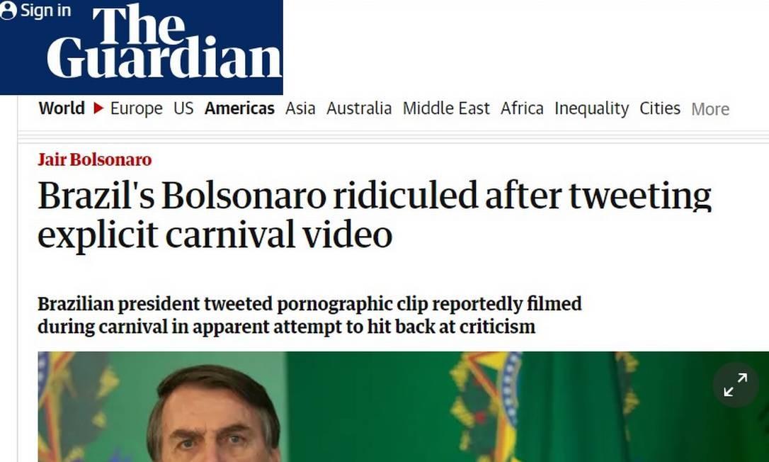 Site do britânico 'The Guardian' destaca post polêmico de Bolsonaro Foto: Reprodução