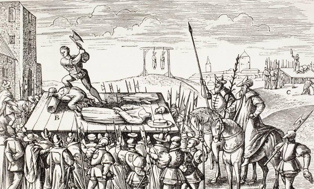 Ilustração do século XVI mostra punições contra os católicos ingleses decretadas pelo rei Henrique VIII Foto: Universal History Archive/UIG / Getty Images