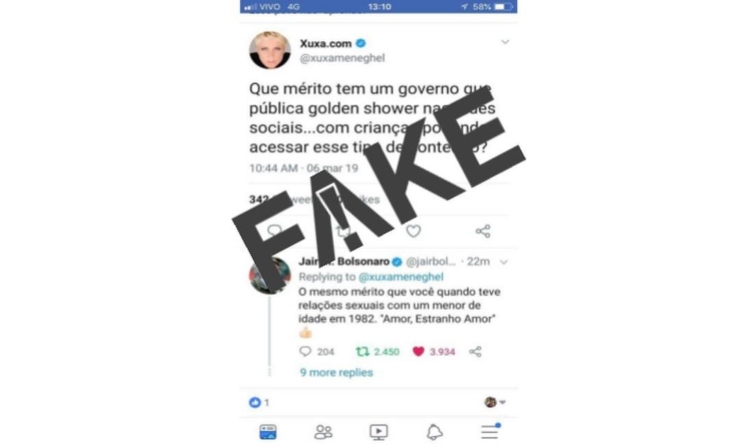 Discussão entre Xuxa e Bolsonaro via Twitter é #FAKE Foto: Reprodução