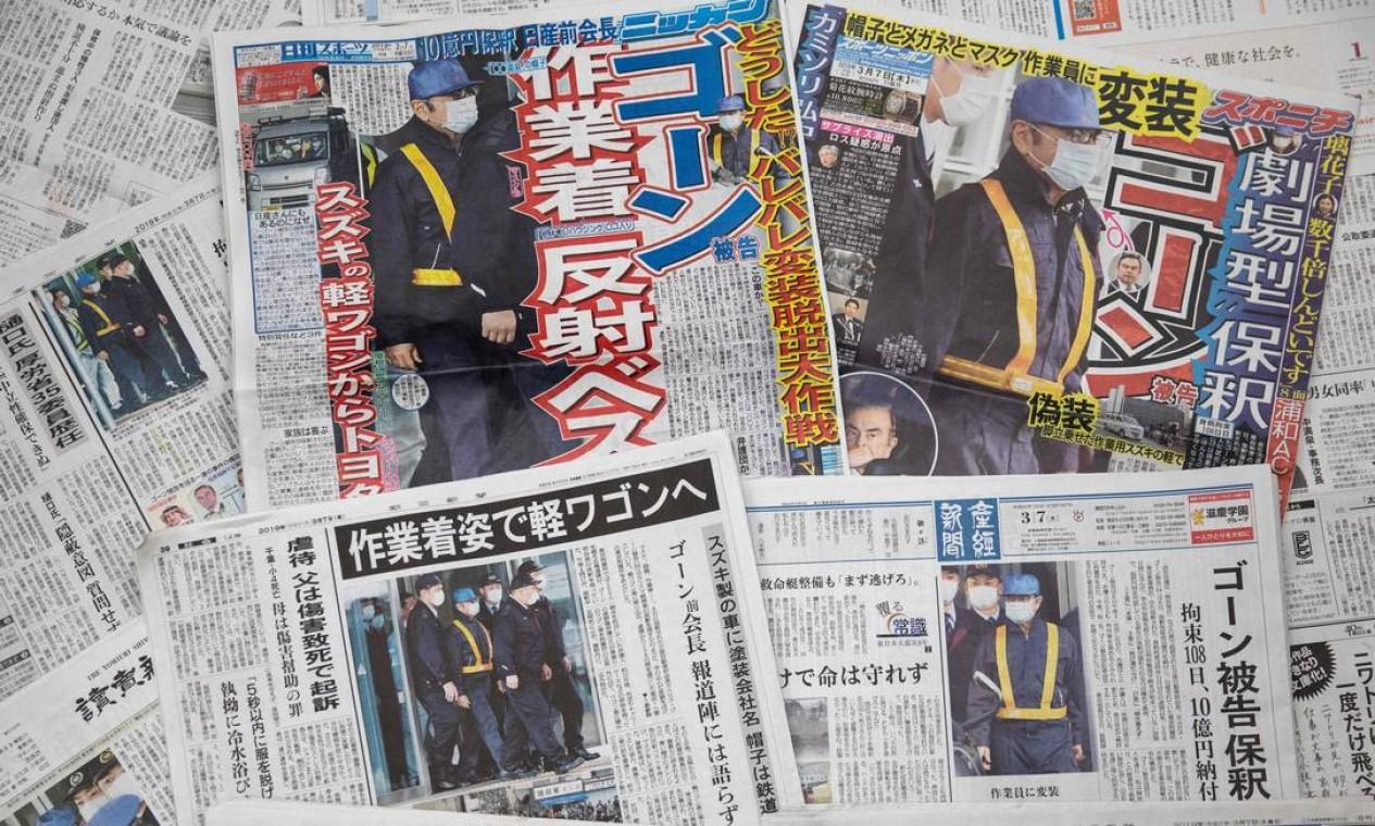 Libertação de Carlos Ghosn foi manchete em vários jornais no Japão Foto: BEHROUZ MEHRI / AFP