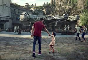Simulação mostra como será o brinquedo Millennium Falcon: Smugglers Run, da futura área Star Wars: Galaxy's Edge, nos parques da Disney Foto: Disney Parks / Divulgação
