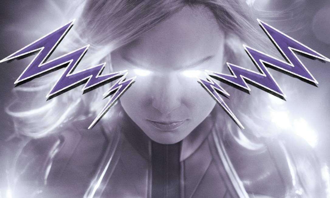 Capitã Marvel, protagonizado por Brie Larson, é o primeira filme do estúdio com uma super-heroína Foto: Arte de Lari Arantes