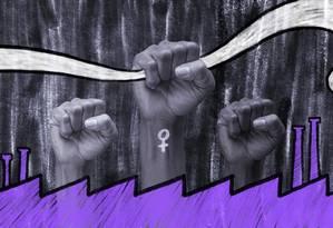 A criação do Dia Internacional da Mulher foi motivada pela luta operária e pelos movimentos políticos. Torná-la um dia sobretudo de festa é uma maneira de apagar o protagonismo das mulheres na História. Foto: Arte de Lari Arantes