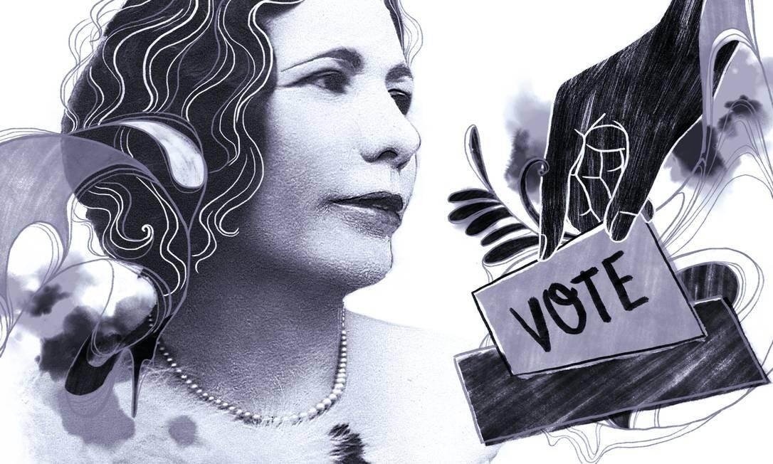 Celina Guimarães Viana, a primeira mulher brasileira a ter o direito de voto Foto: Arte de Lari Arantes
