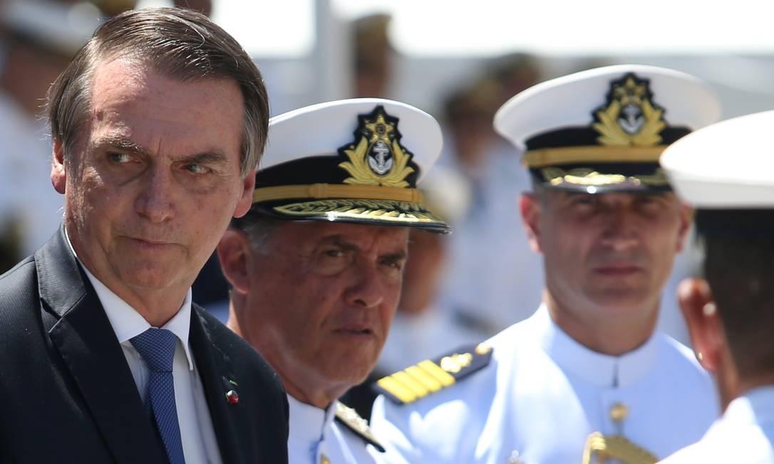 Presidente Jair Bolsonaro em cerimônia de comemoração dos 211 anos do Corpo de Fuzileiros Navais, no Rio Foto: Pedro Teixeira / Agência O Globo