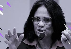 Damares Alves, ministra da Mulher, Família e Direitos Humanos Foto: Arte sobre foto de Jorge William / Agência O Globo