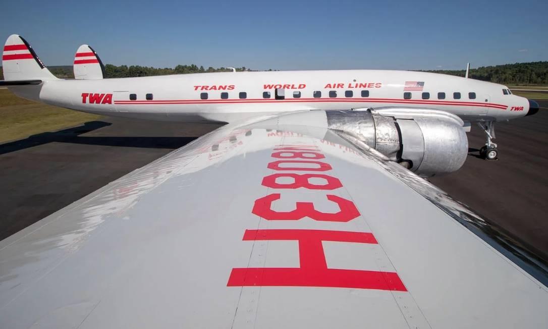 Connie, o avião Lockheed Constellation da antiga TWA, que vai funcionar como um bar temático no novo aeroporto Foto: Reprodução