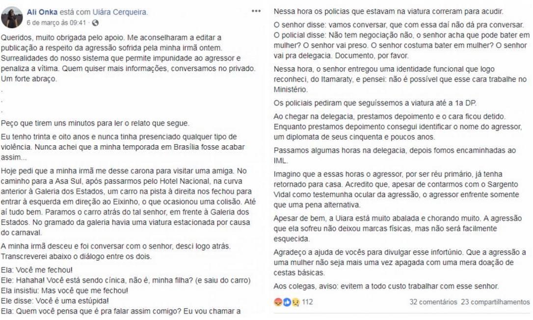 Relato de servidora do Itamaraty sobre agressão à irmã Foto: Reprodução