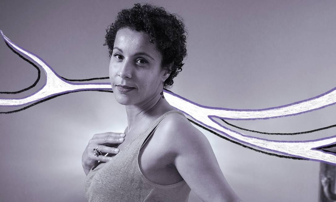 A cineasta argelina Sofia Djama Foto: Arte de Lara Arantes/Foto de Leo Martins