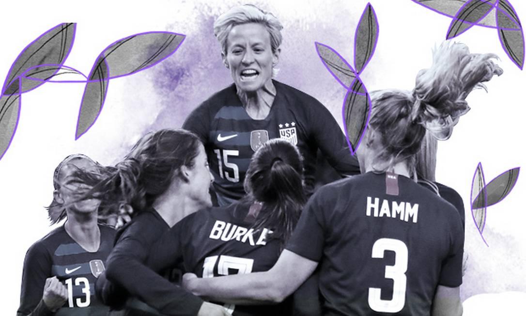 Alex Morgan e Megan Rapinoe comemoram um gol na Olimpíada de Londres-2012: craques da seleção feminina dos EUA estão processando federação do país Foto: Arte sobre foto de Andrew Yates / AFP