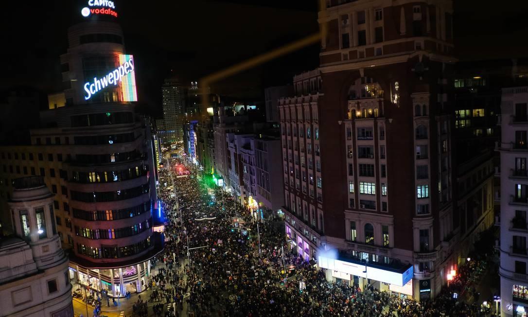 Vista aérea da manifestação do dia de 8 de março, na Argentina Foto: Antonio Navia / NurPhoto via Getty Images