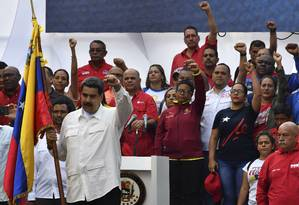 Nicolás Maduro fala a apoiadores em Caracas Foto: YURI CORTEZ / AFP