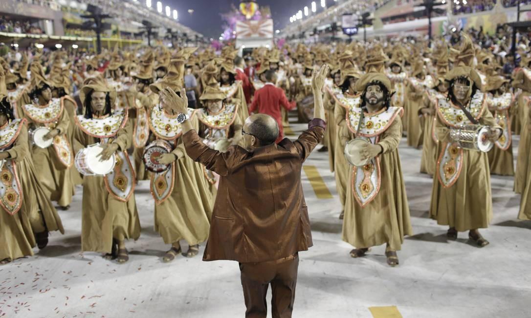 Bateria da Viradouro, vice campeã do carnaval 2019 Foto: Gabriel MONTEIRO / Agência O Globo