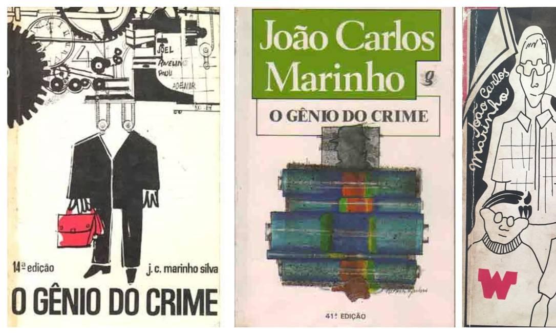 Algumas das 76 edições do livro 'O gênio do crime', de João Carlos Marinho Foto: Reprodução