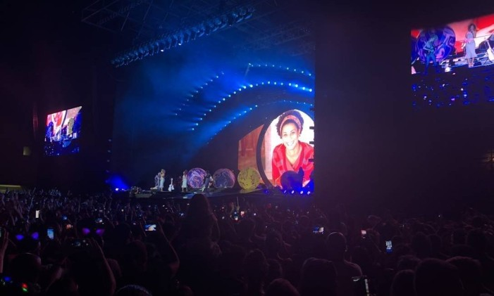 Imagem de Marielle é mostrada em telão durante show de Katy Perry no Rio Foto: Bernardo Araújo / Agência O Globo