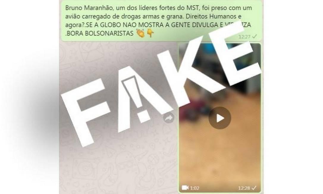 Mensagem falsa sobre Bruno Maranhão, MST e apreensão de avião com drogas Foto: Reprodução/ WhatsApp