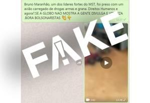 Mensagem falsa sobre Bruno Maranhão, MST e apreensão de avião com drogas Foto: Reprodução/WhatsApp