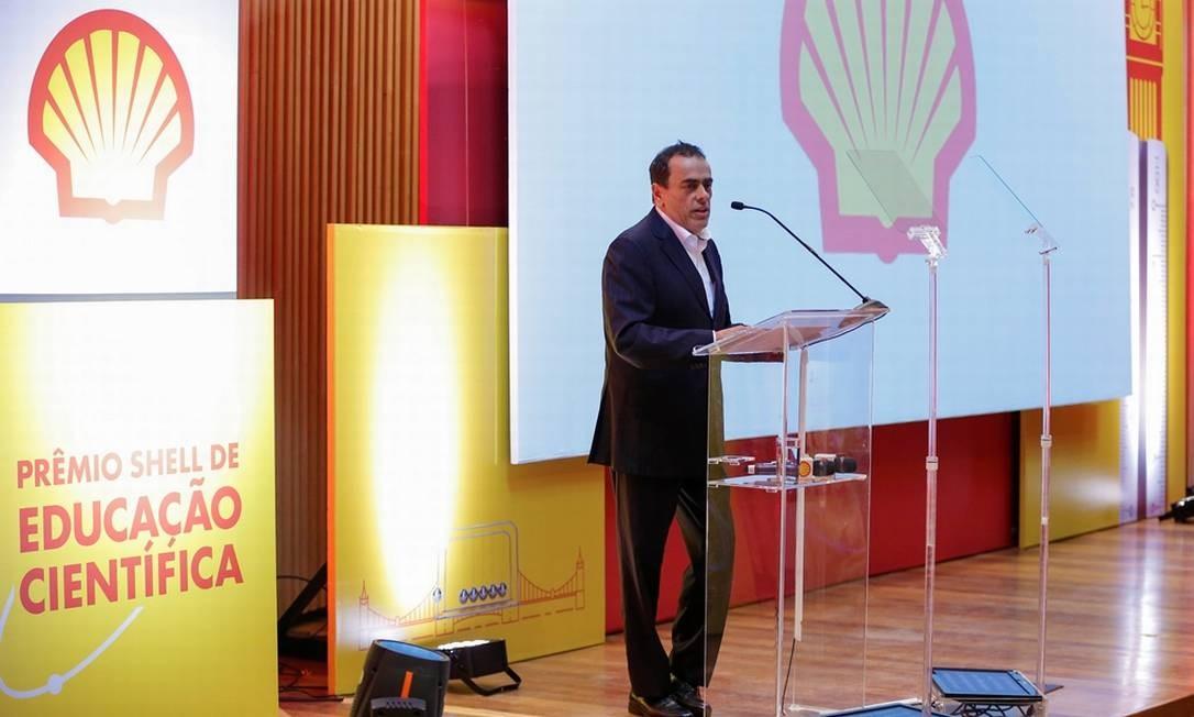 André Araújo, presidente da Shell Brasil, discursa na 5ª edição do Prêmio Shell de Educação Científica Foto: Marcelo de Jesus