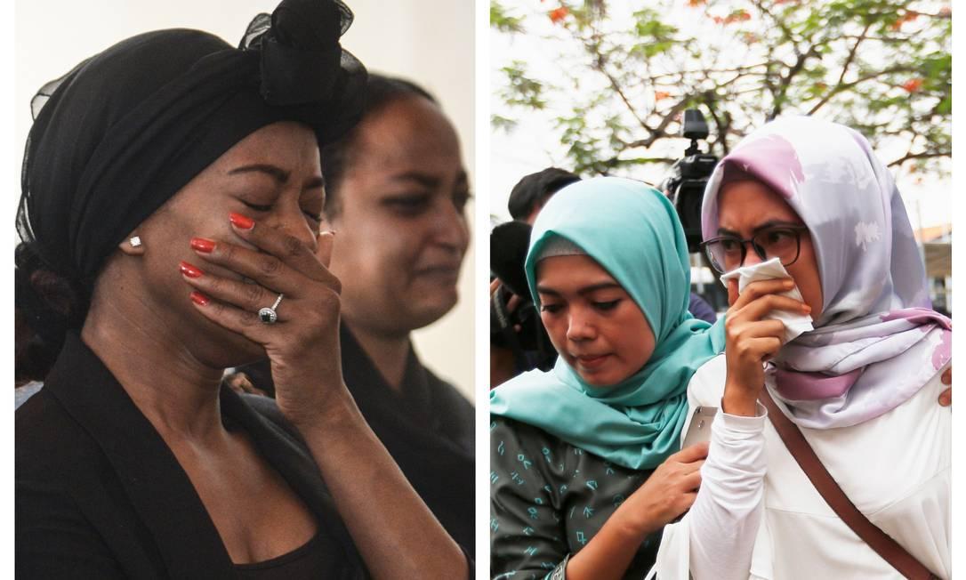 Colagem coloca lado a lado mulheres chorando pelas mortes de vítimas de acidentes aéreos em, respectivamente, Etiópia e Indonésia; dentro de seis meses, aviões Boeing 737 Max 8 sofreram quedas que mataram todos a bordo Foto: AFP/REUTERS