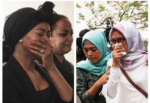 Montagem coloca lado a lado mulheres chorando pelas mortes de vítimas de acidentes aéreos em, respectivamente, Etiópia e Indonésia; dentro de seis meses, aviões Boeing 737 Max 8 sofreram quedas que mataram todos a bordo Foto: AFP/REUTERS