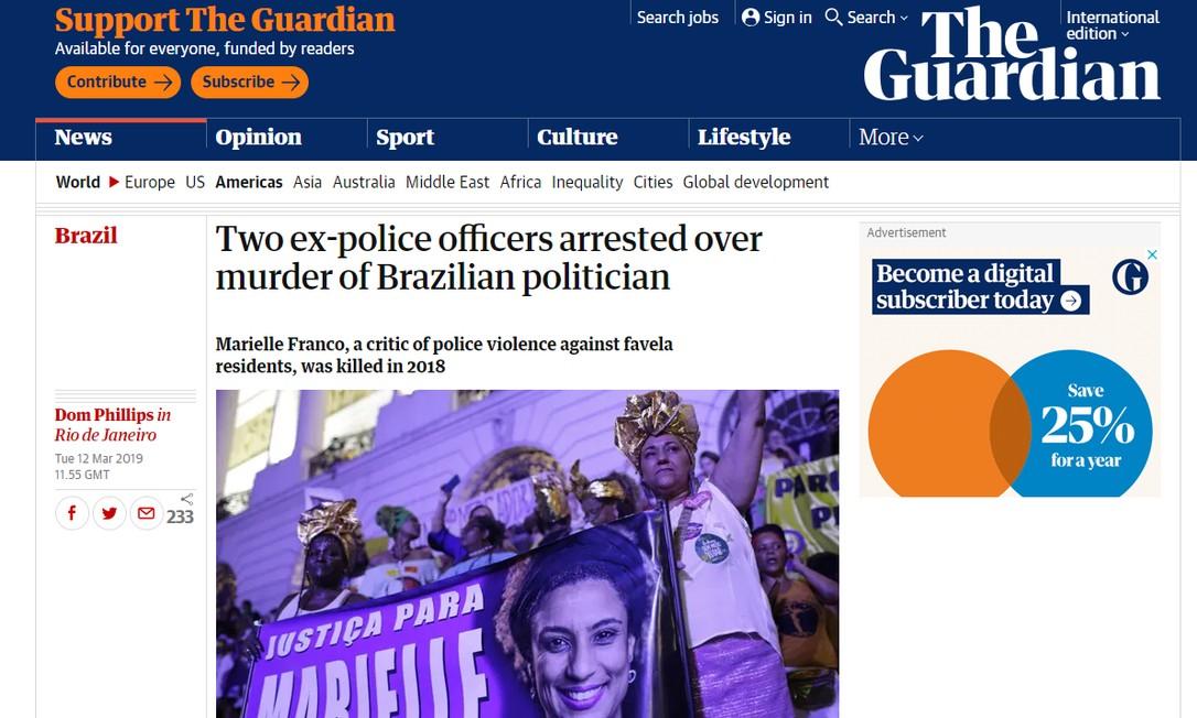 Prisões de dois envolvidos no assassinato de Marielle Franco repercutiram na imprensa internacional Foto: Reprodução/The Guardian