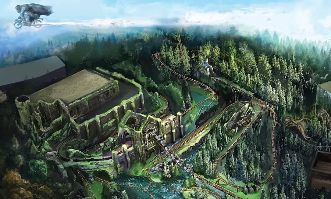Arte revela como será o visual da montanha-russa Hagrid's Magical Creatures Motorbike Adventure, que abrirá em junho no Universal Orlando Resort Foto: Universal Orlando Resort / Divulgação