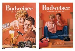 Campanha da Budweiser recria anúncios das décadas de 1950 e 1960, agora promovendo a igualdade de gênero Foto: Divulgação