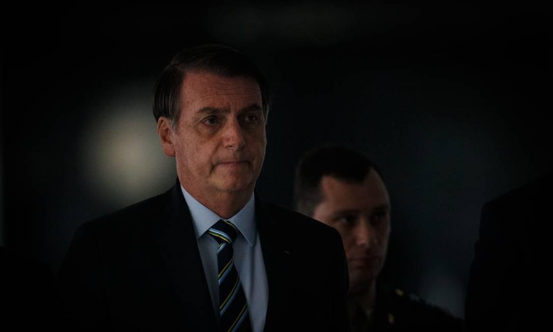 O presidente Jair Bolsonaro participa da cerimonia oficial de chegada do presidente da Republica do Paraguai, Mario Abdo Benitez, na manhã desta terca-feira, no Palacio do Planalto. Foto: Daniel Marenco / Agência O Globo
