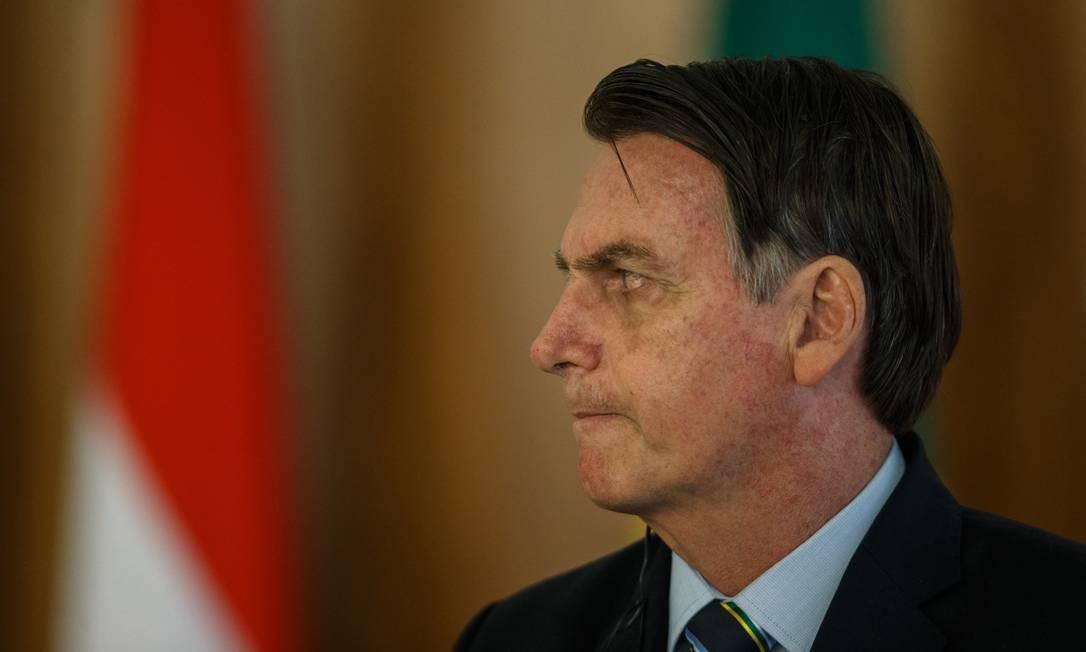 O presidente Jair Bolsonaro participou de um café com jornalistas nesta quarta-feira Foto: Daniel Marenco / Agência O Globo