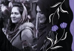 Nos últimos anos, as oportunidades para mulheres no Afeganistão aumentaram, mas agora elas temem um retrocesso Foto: Arte de Alvim sobre foto de Wakil Kohsar/AFP