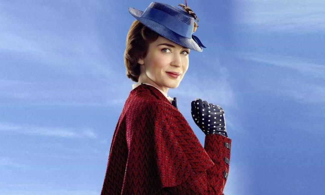 Emily Blunt protagoniza 'O Retorno de Mary Poppins', filme lançado em dezembro que mistura live-action com animação em 2D Foto: Divulgação