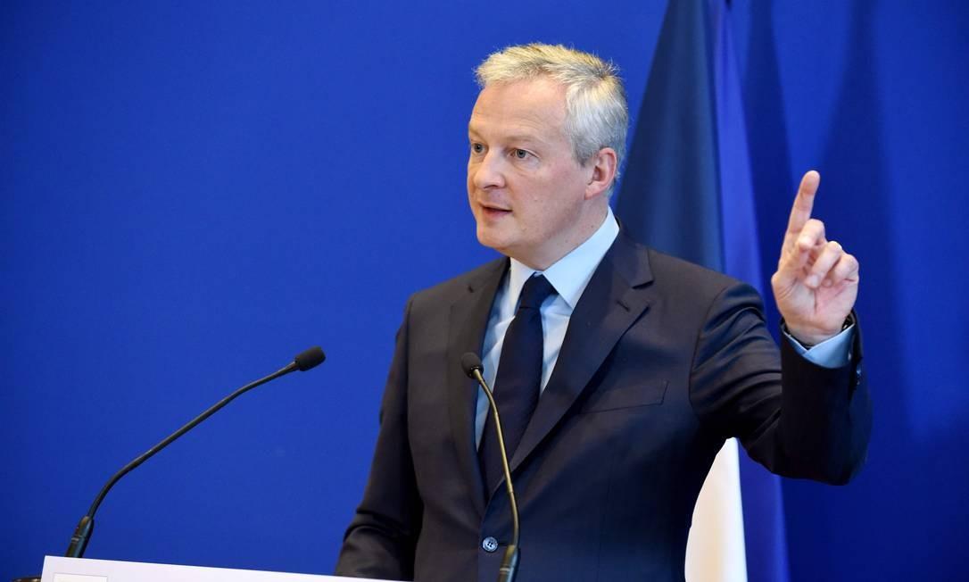 O ministro das Finanças da França, Bruno Le Maire: determinação de conseguir a taxa sobre empresas de internet na OCDE Foto: ERIC PIERMONT / AFP