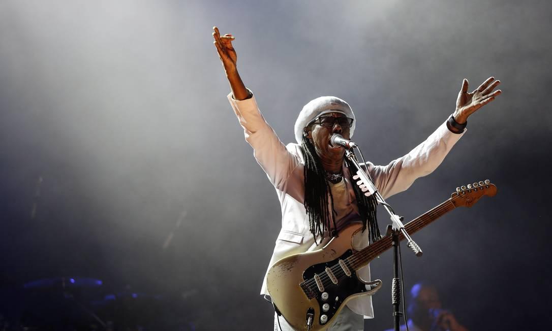 Nile Rodgers no palco do Rock in Rio, em 2017 Foto: Bárbara Lopes / O Globo