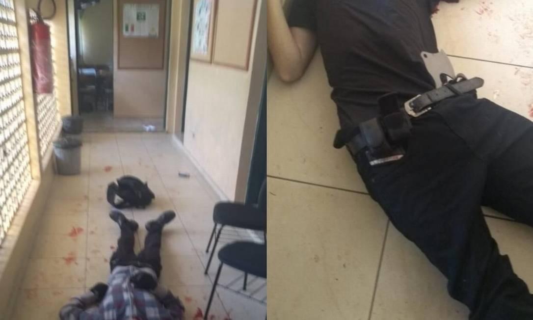 Corpos dos dois atiradores que se mataram após o ataque Foto: Reprodução
