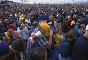 Memorial em homenagem às vítimas do massacre de Columbine Foto: Steven D Starr / Corbis via Getty Images