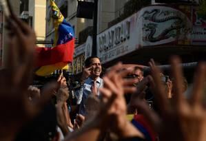 Juan Guaido discursa em Caracas: Brasil não apoiará intervenção militar mesmo em caso de prisão de líder opositor Foto: FEDERICO PARRA / AFP/12-3-2019